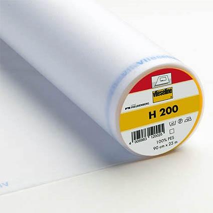 H 200 leichte Bügeleinlage mit etwas stabilität weiss 90cm breit