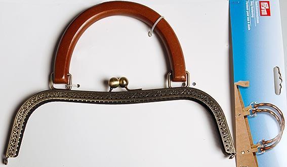 Taschengriff 26 x 29cm Altmessing Griff aus Holz (2)
