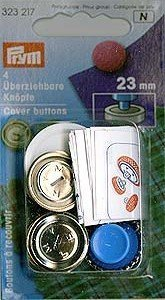 Überziehbare Knöpfe 23MM Silberfarbig mit Wekzeug Blister A 4 Stk.(4)