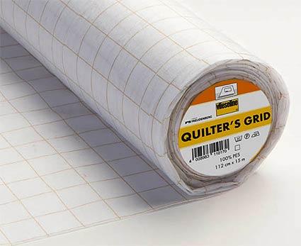 QUILTER'S-GRID fixierbare Einlage 112cm für Watercolor Quilts mit aufedricktem Raster