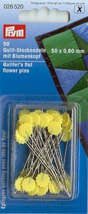 Quiltstecknadeln 0,60x50MM gelb mit Blumenkop Karte A 50STK(2)